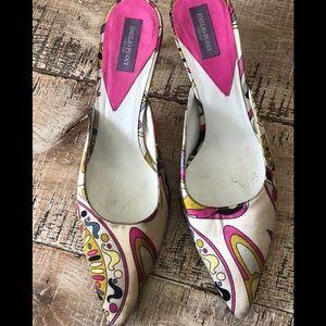 Emilio Pucci fabric colorful pointed toe mules 6
